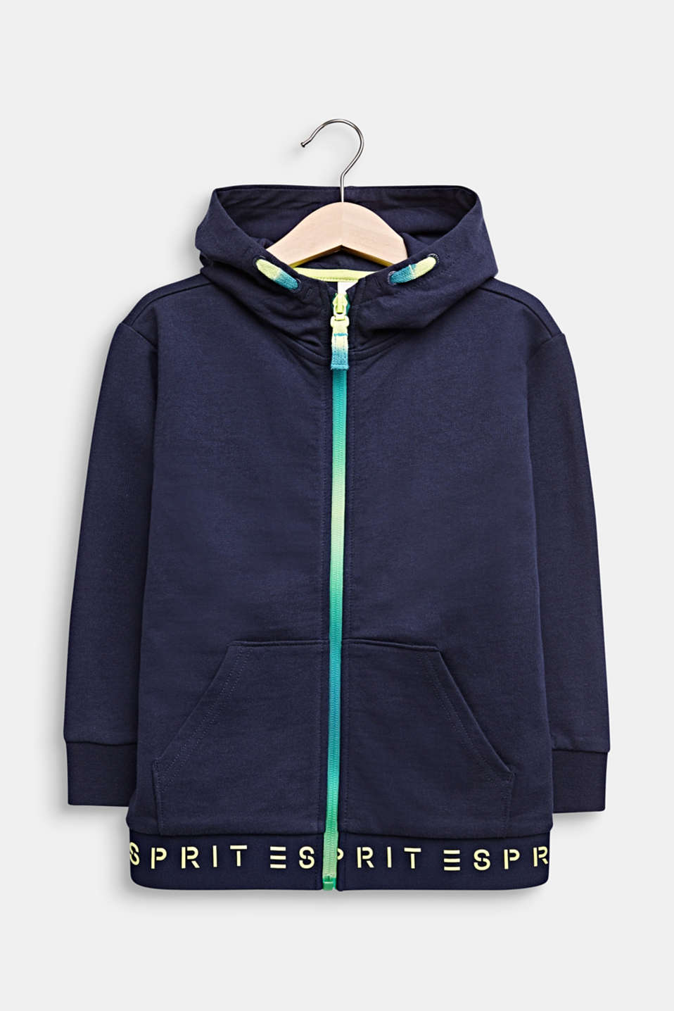Sweatshirt fabric cardigan with logo ties, 100% cotton, MIDNIGHT BLUE, detail image number 0