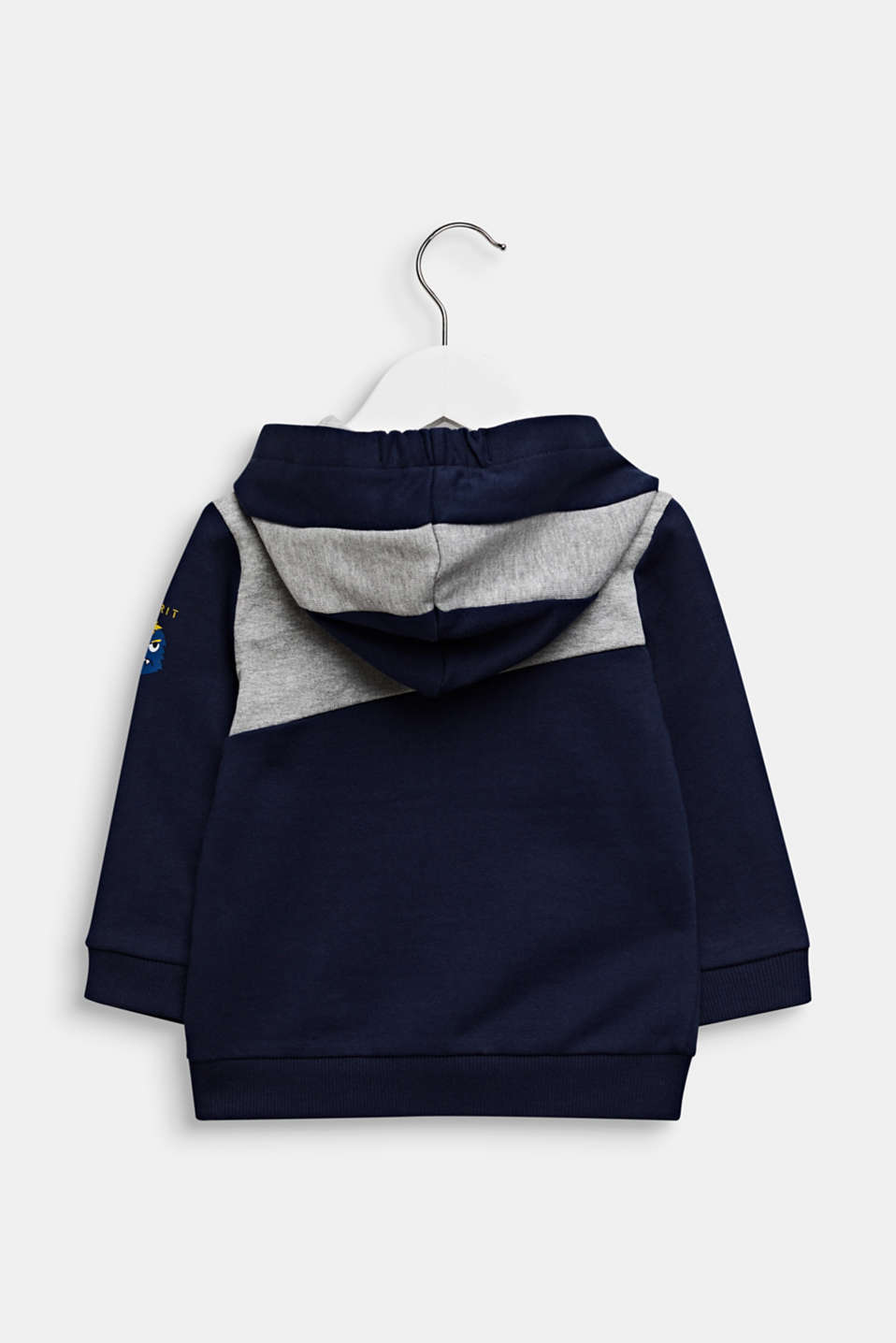 Colour block sweatshirt cardigan with a hood, LCMIDNIGHT BLUE, detail image number 1