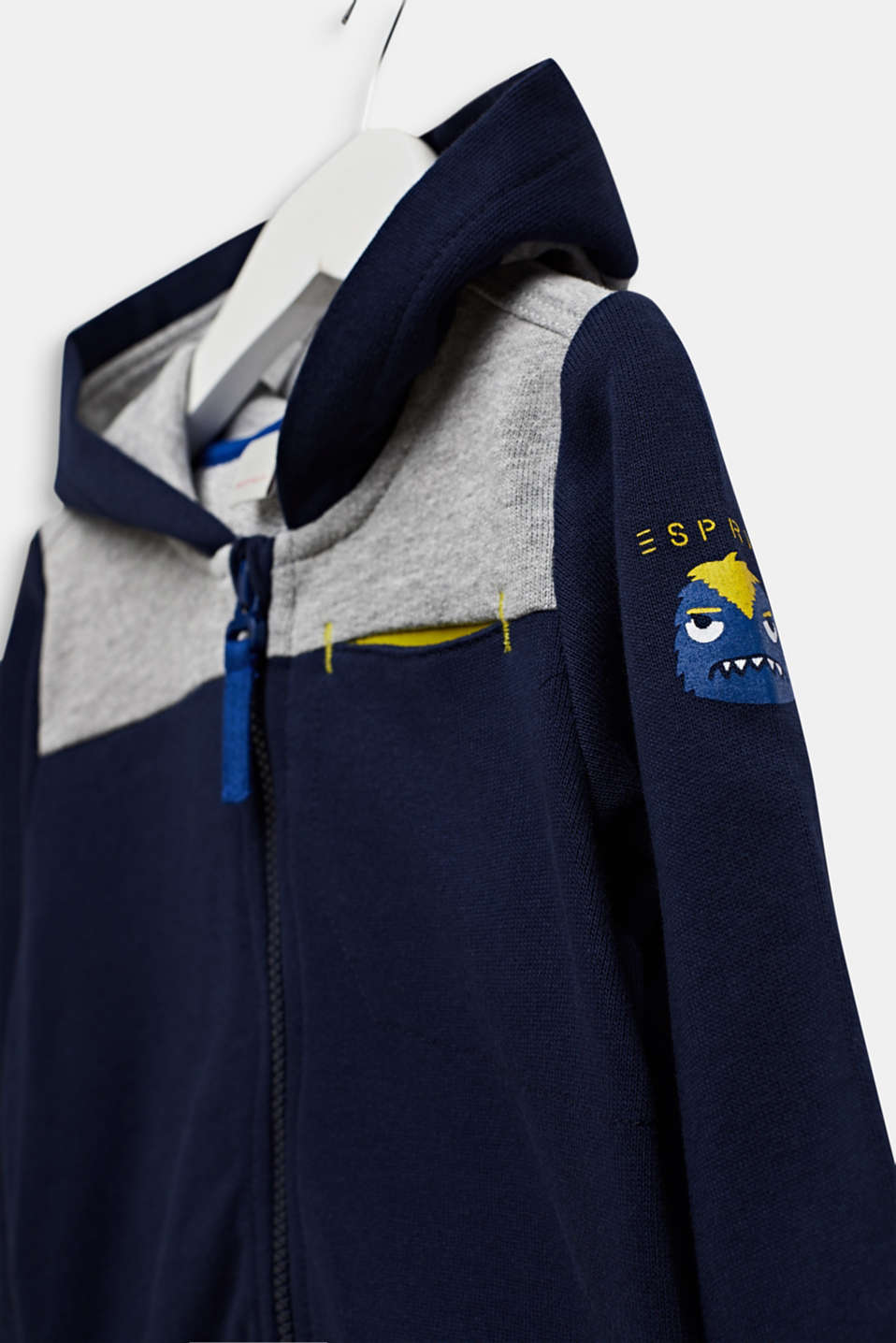 Colour block sweatshirt cardigan with a hood, LCMIDNIGHT BLUE, detail image number 2