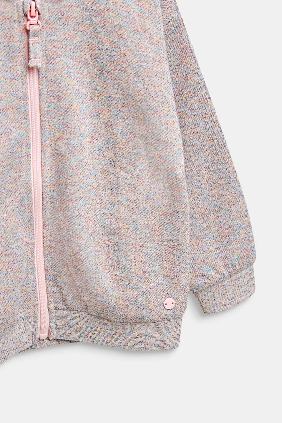 Sweatshirt cardigan with a colourful glitter look, MULTICOLOR, detail image number 2