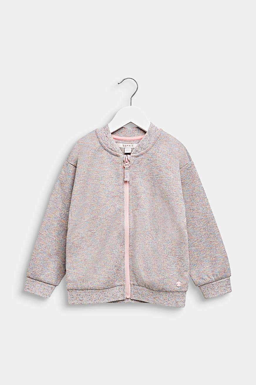 Sweatshirt cardigan with a colourful glitter look