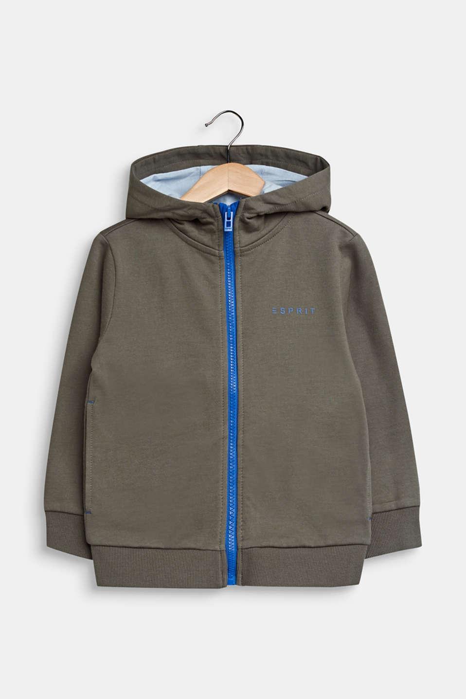 Sweatshirt cardigan with hood, 100% cotton, KAKI, detail image number 0