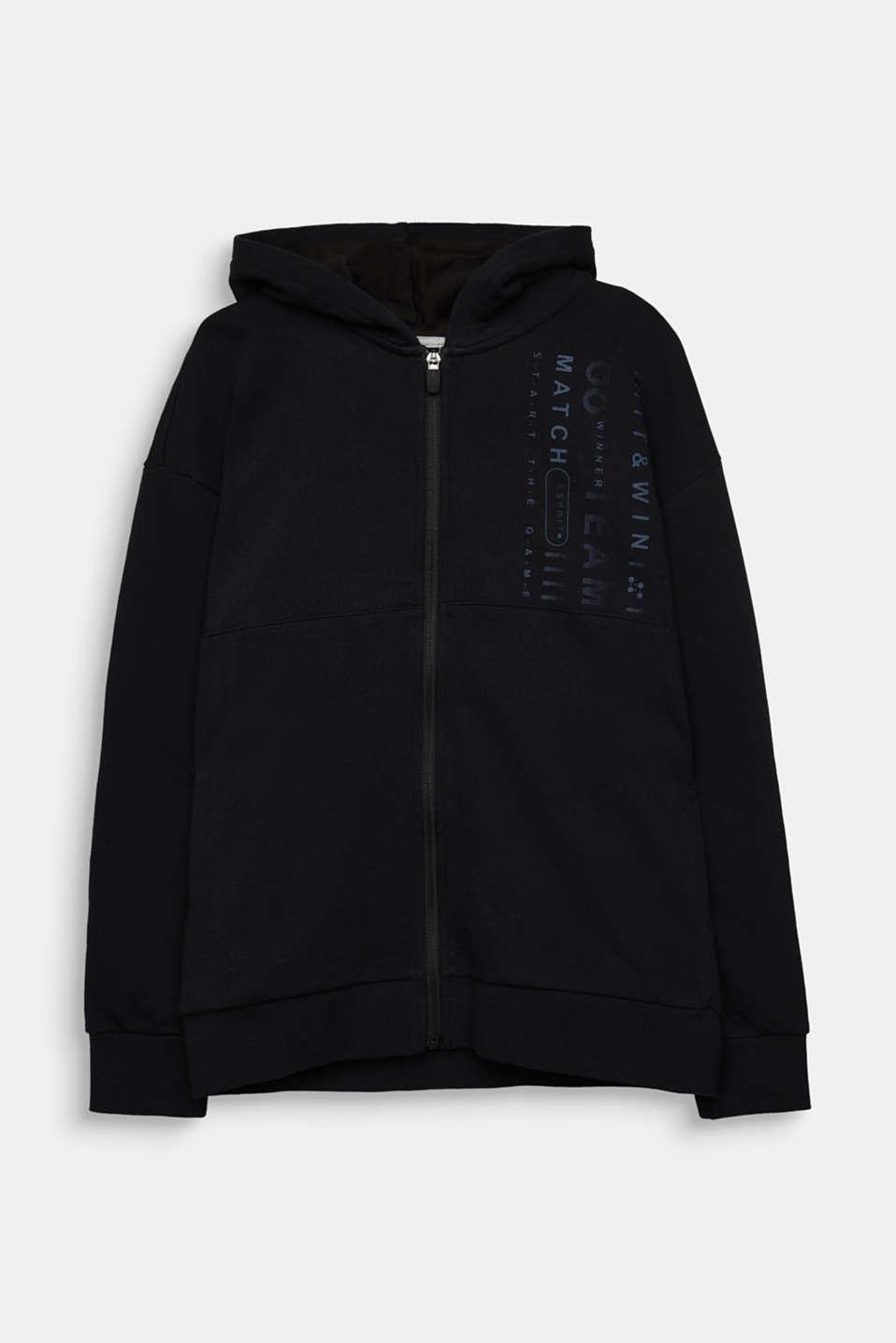 Sweatshirt cardigan with print, LCBLACK, detail image number 0