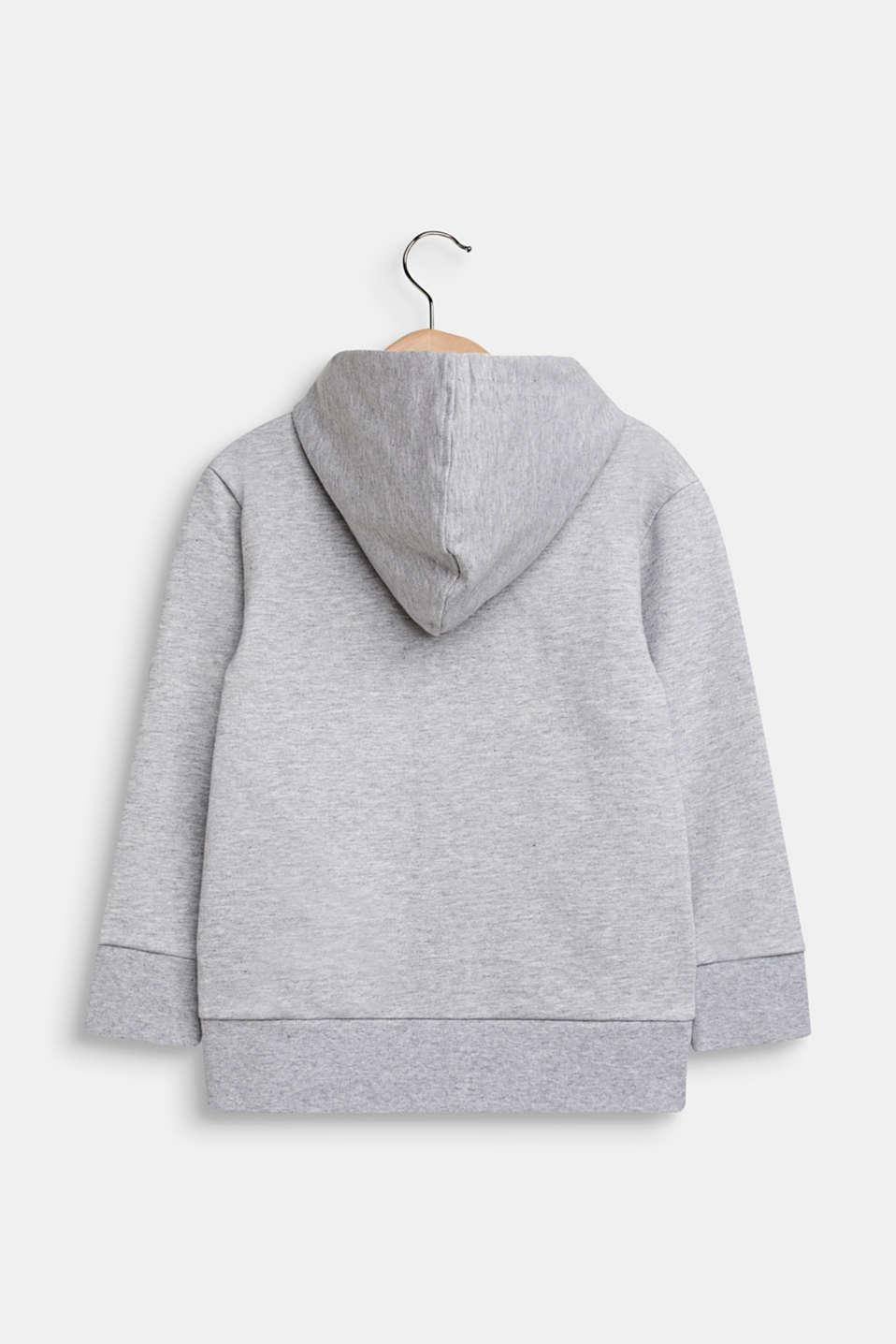 Sweatshirt cardigan with hood, 100% cotton, HEATHER SILVER, detail image number 1