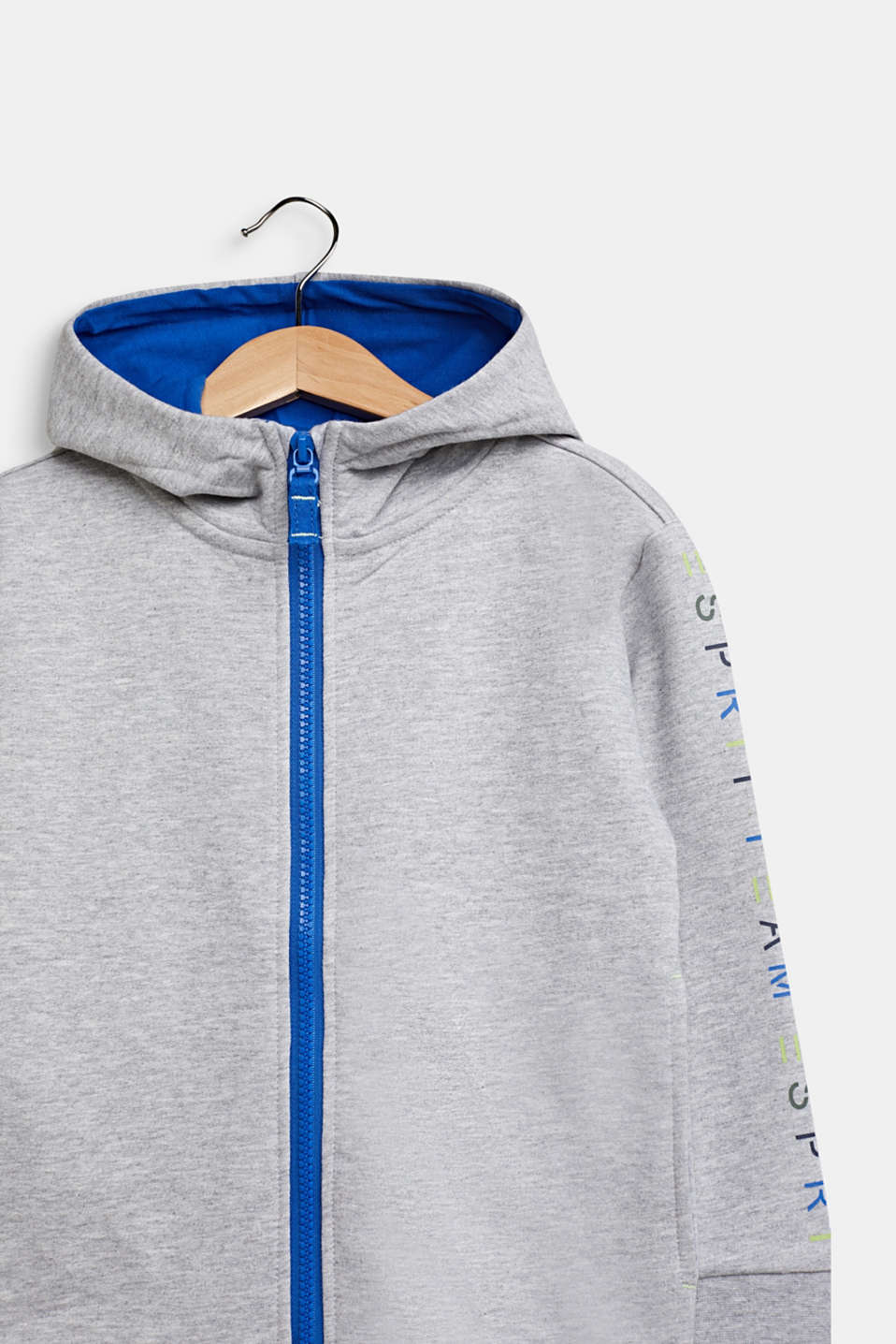Sweatshirt cardigan with hood, 100% cotton, HEATHER SILVER, detail image number 2