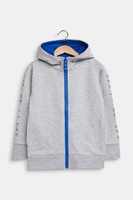Sweatshirt cardigan with hood, 100% cotton, HEATHER SILVER, detail