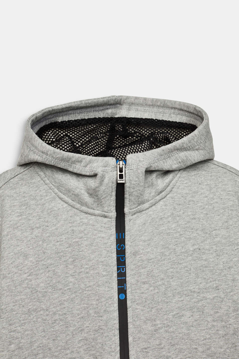 Sweatshirt cardigan with logo tape, LCMID HEATHER GR, detail image number 2