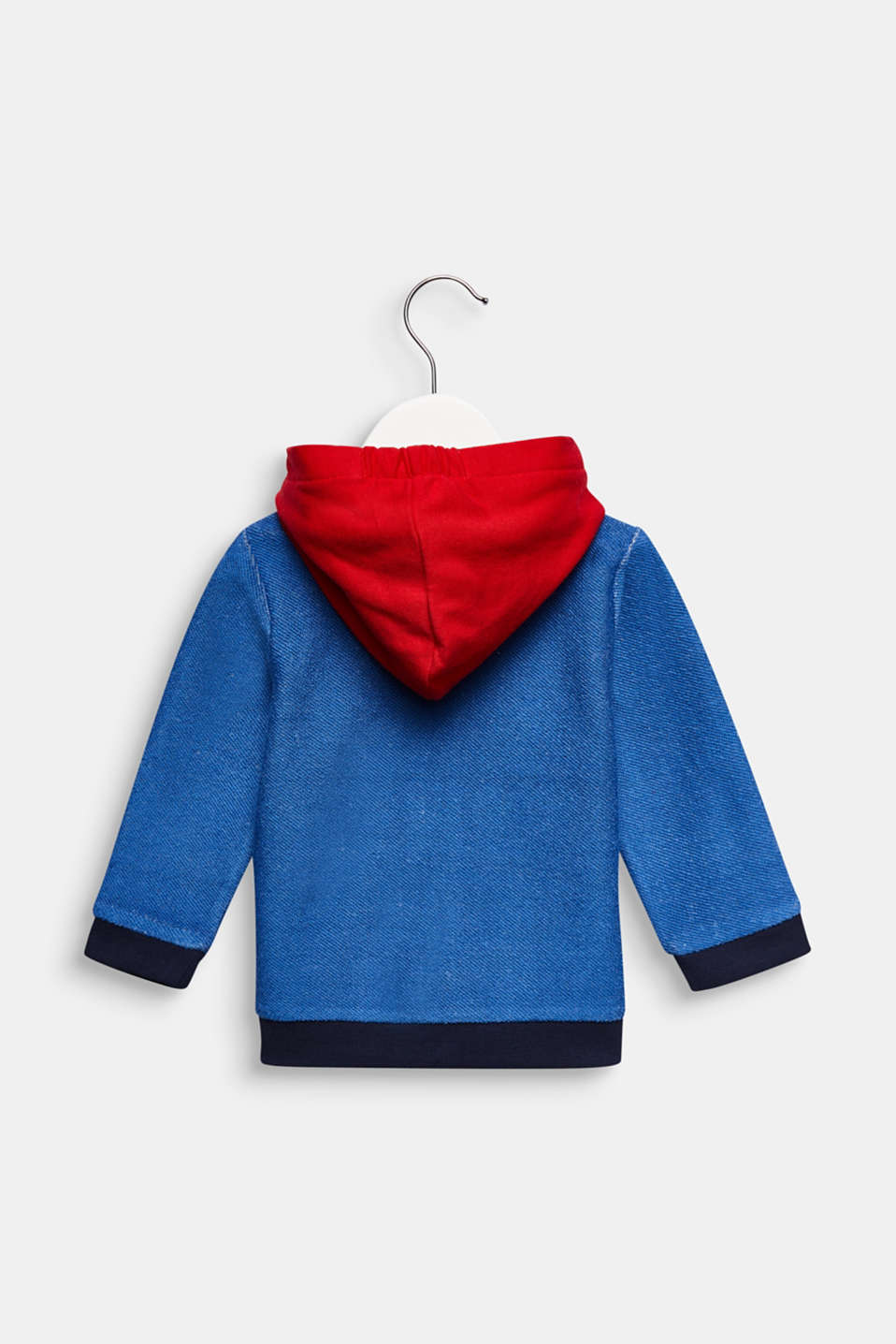 Hooded sweatshirt cardigan with colour blocking, LCHEATHER SILVER, detail image number 1