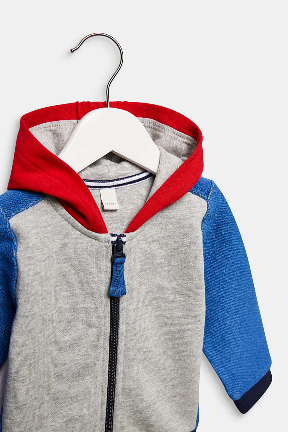 Hooded sweatshirt cardigan with colour blocking, LCHEATHER SILVER, detail image number 2
