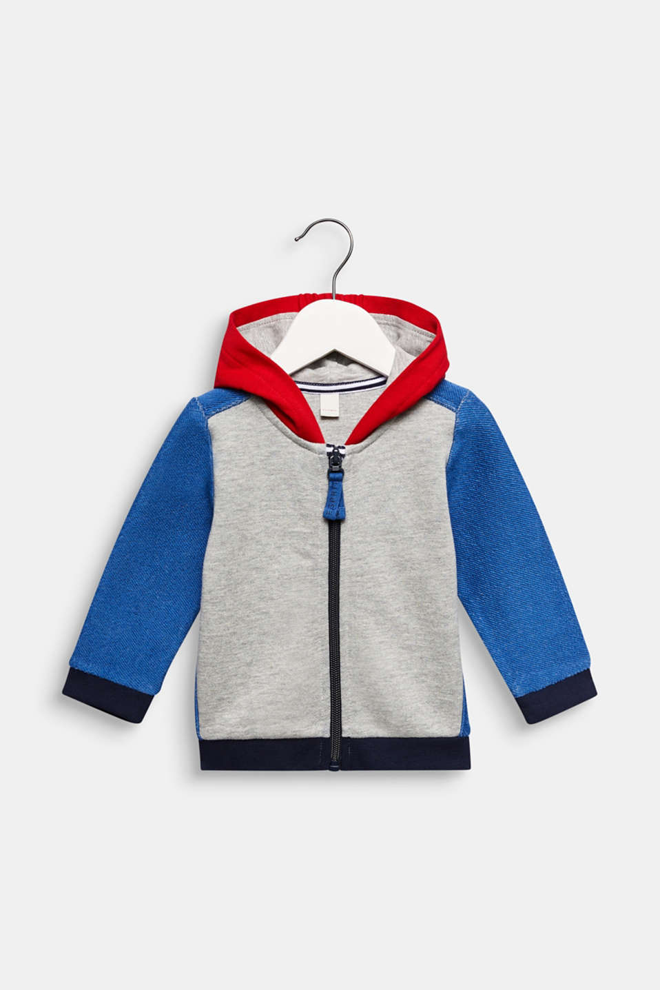 Hooded sweatshirt cardigan with colour blocking, LCHEATHER SILVER, detail image number 0