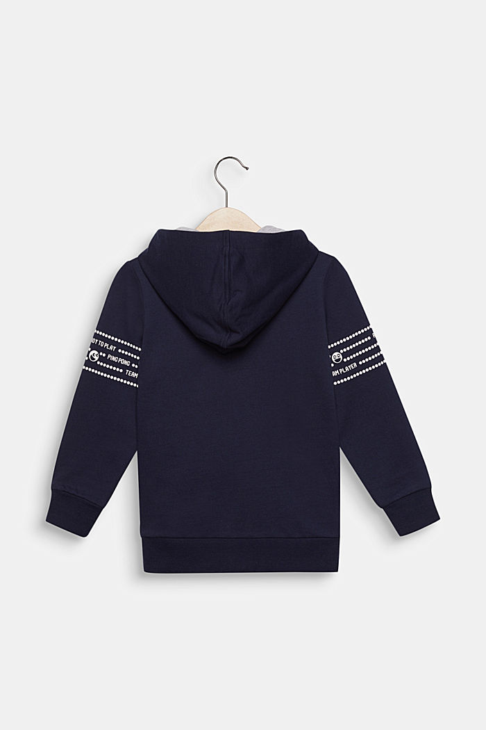 Sweatshirt cardigan with sleeve prints, 100% cotton, MIDNIGHT BLUE, detail image number 1