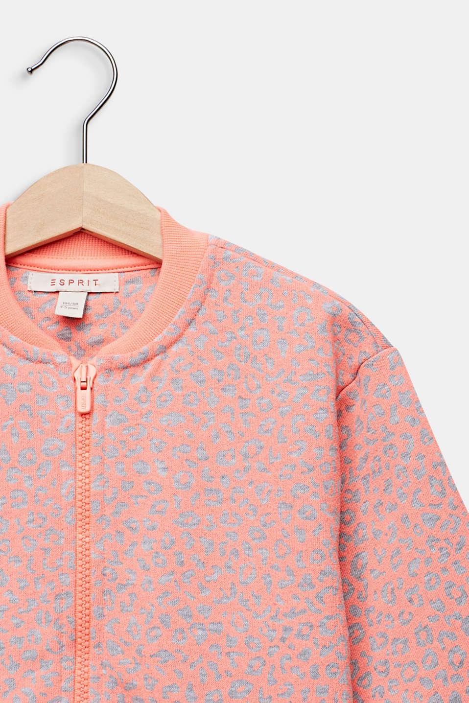 NEON sweatshirt cardigan with leopard print, NEON CORAL, detail image number 2