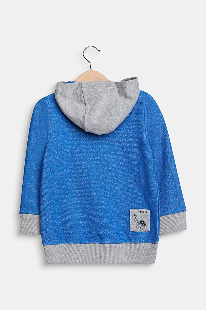 Colour block sweatshirt cardigan with a hood, ELECTRIC BLUE, detail image number 1