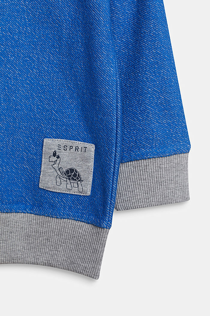 Colour block sweatshirt cardigan with a hood, ELECTRIC BLUE, detail image number 2