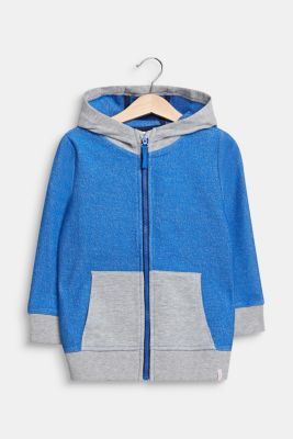 Colour block sweatshirt cardigan with a hood, ELECTRIC BLUE, detail