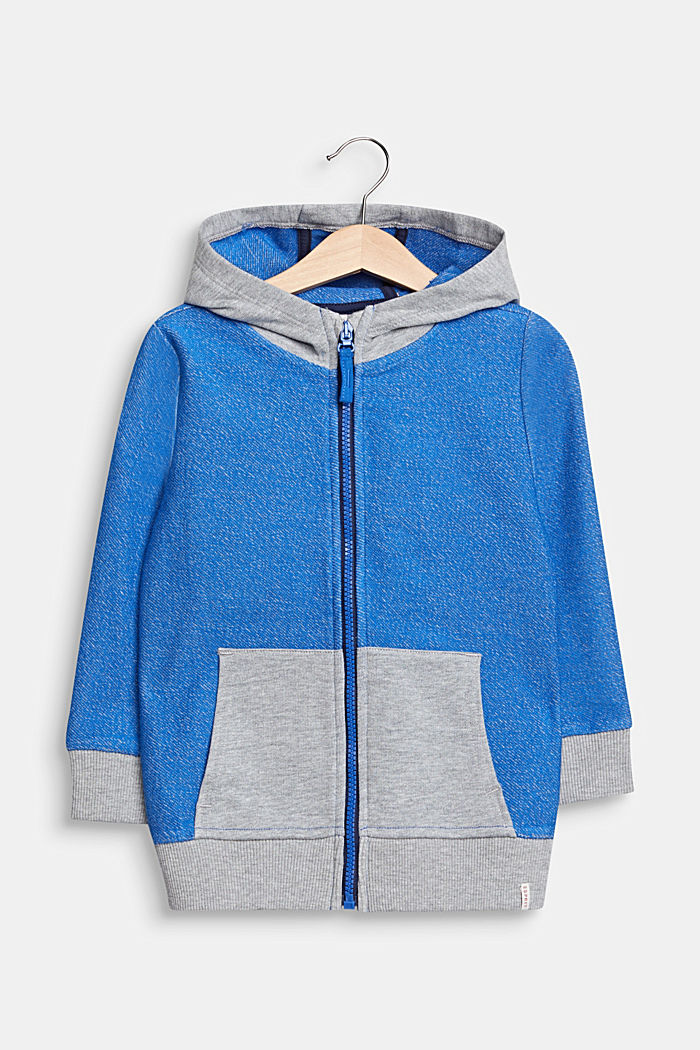 Colour block sweatshirt cardigan with a hood, ELECTRIC BLUE, detail image number 0