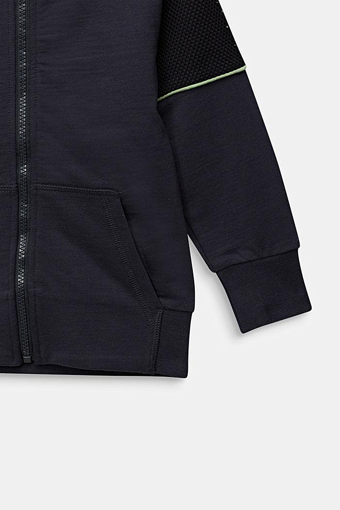 Cárdigan de felpa con malla, 100% algodón, ANTHRACITE, detail image number 3