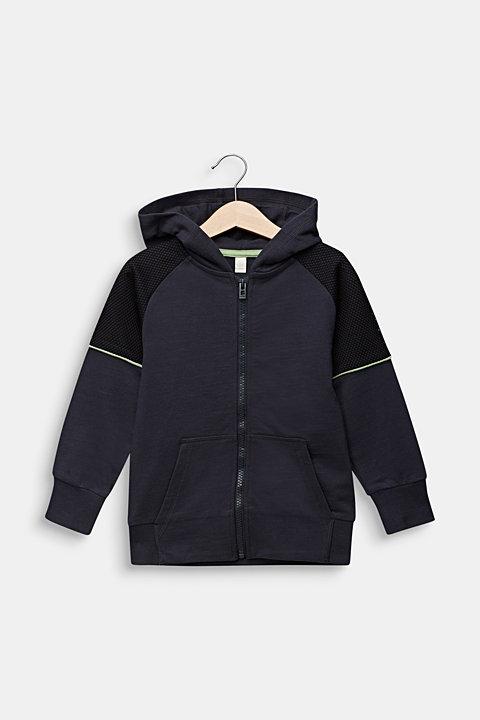 Sweatshirt cardigan with mesh, 100% cotton