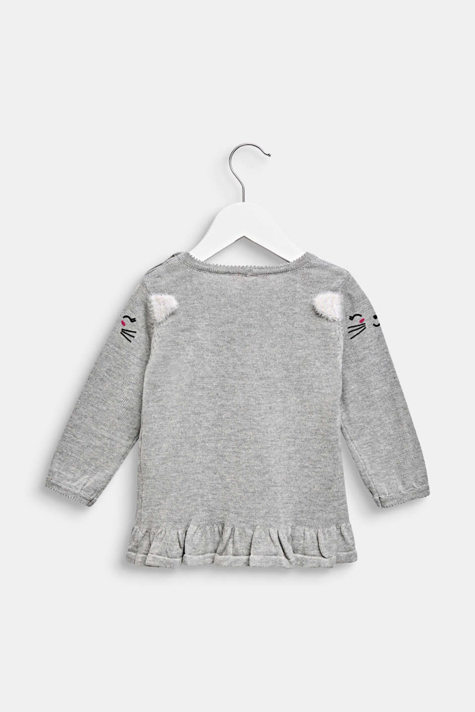 Little kitten jumper, 100% cotton, LCMID HEATHER GR, detail image number 1