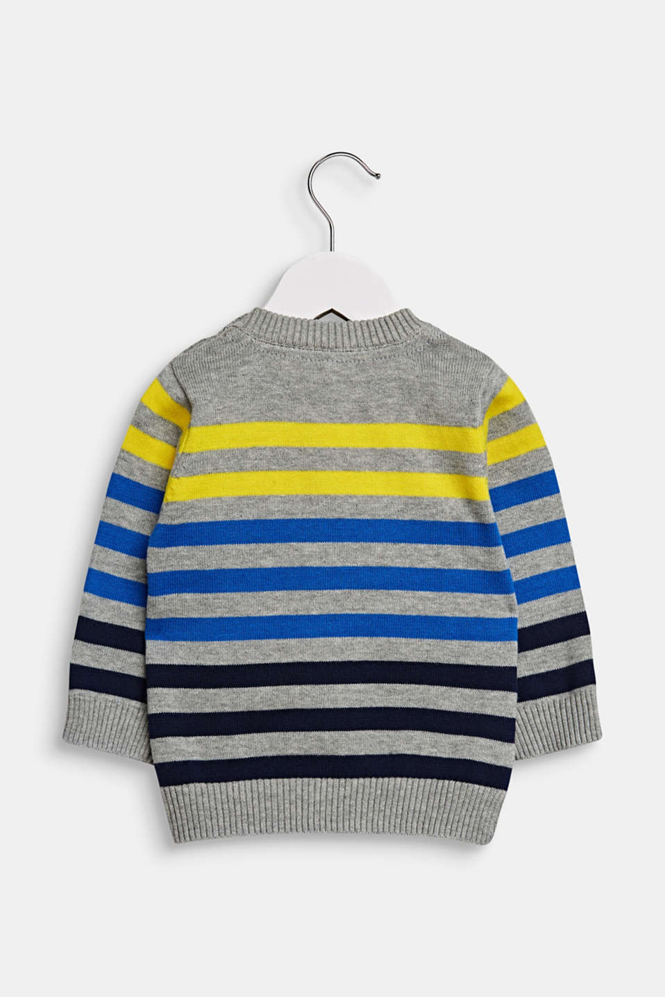 Striped jumper in 100% cotton, LCMID HEATHER GR, detail image number 1