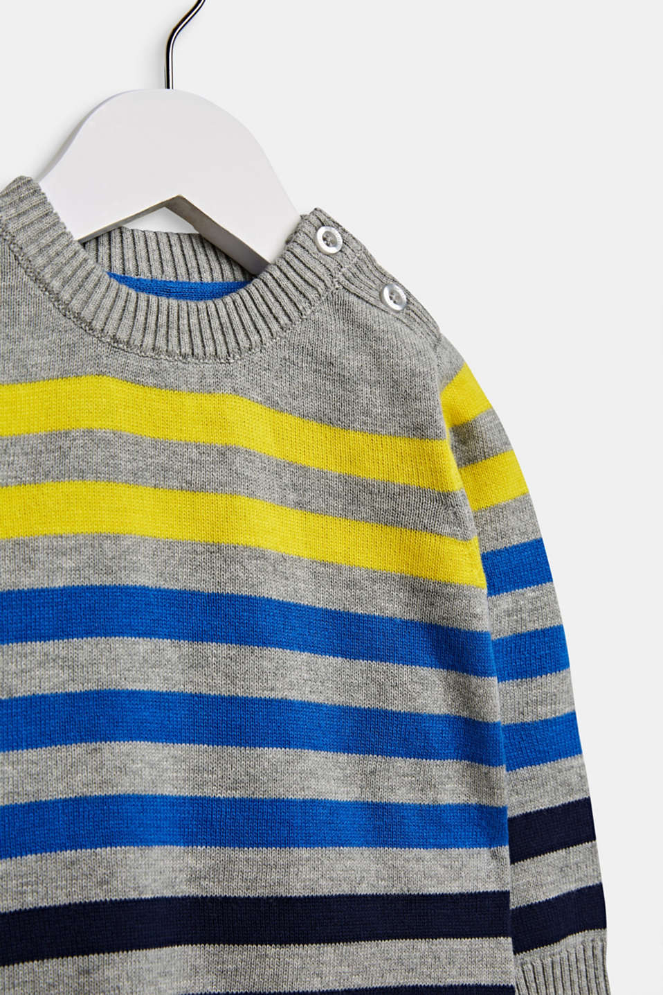 Striped jumper in 100% cotton, LCMID HEATHER GR, detail image number 2