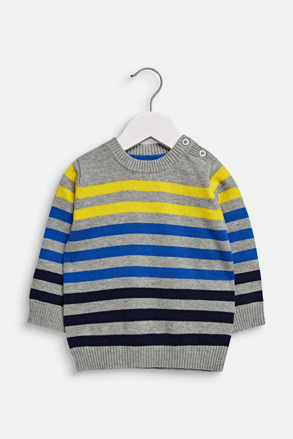 Striped jumper in 100% cotton, LCMID HEATHER GR, detail image number 0