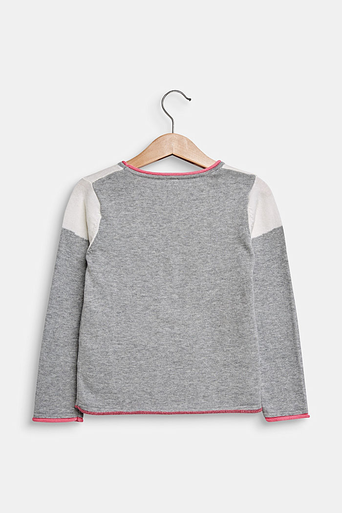 Jumper with cat face, 100% cotton, MID HEATHER GR, detail image number 1