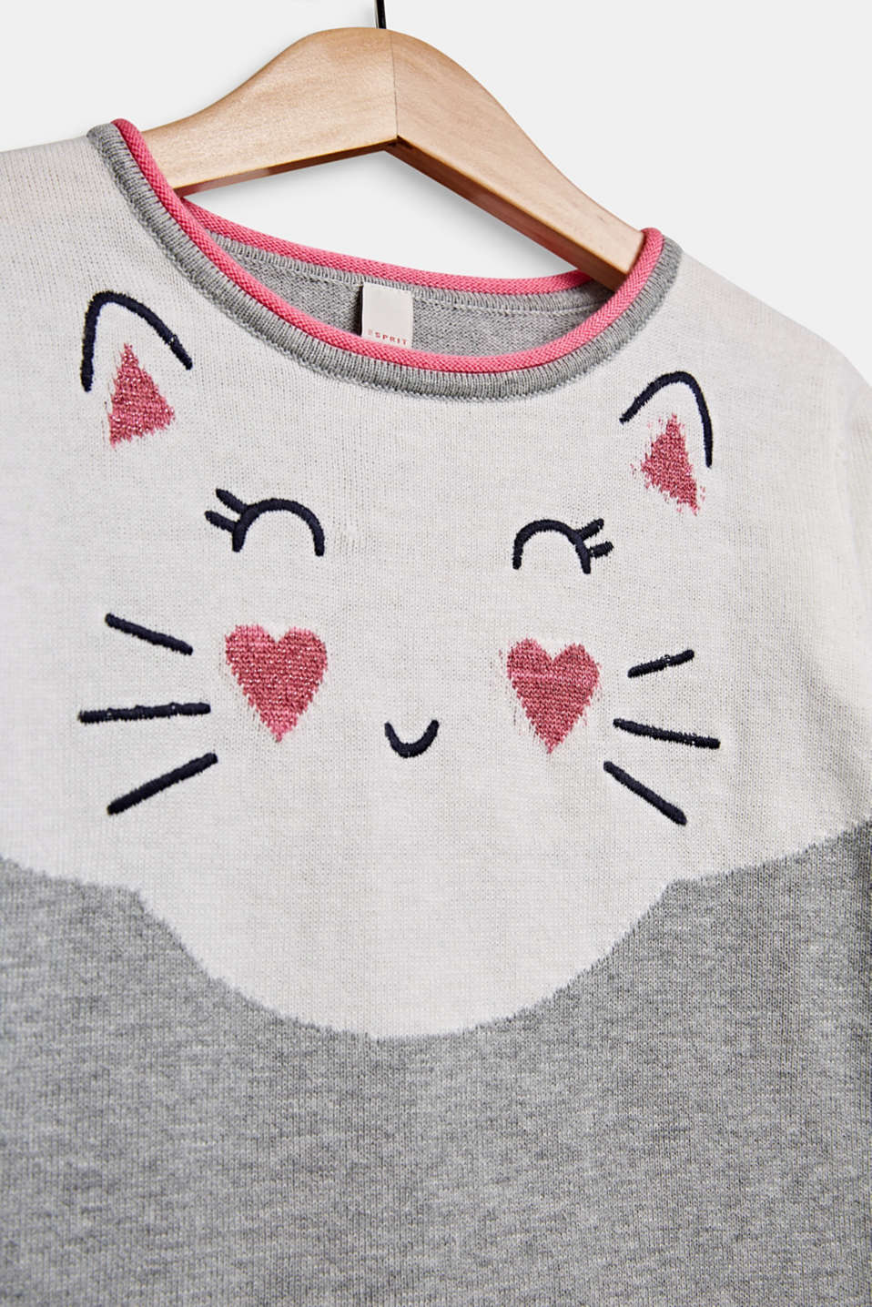 Jumper with cat face, 100% cotton, MID HEATHER GR, detail image number 2