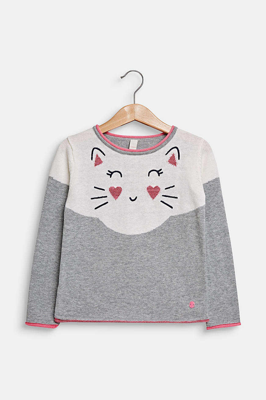 Jumper with cat face, 100% cotton