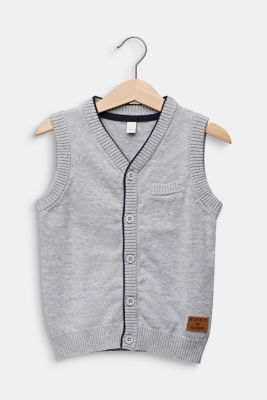 Knitted waistcoat in 100% cotton, HEATHER SILVER, detail