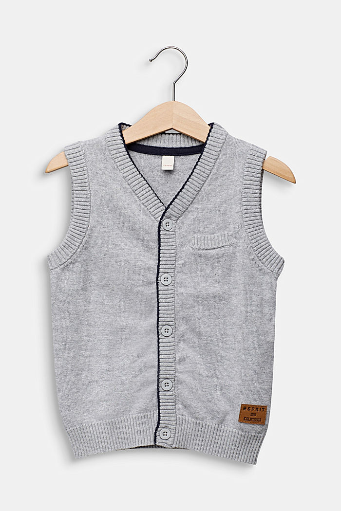 Knitted waistcoat in 100% cotton, HEATHER SILVER, detail image number 0
