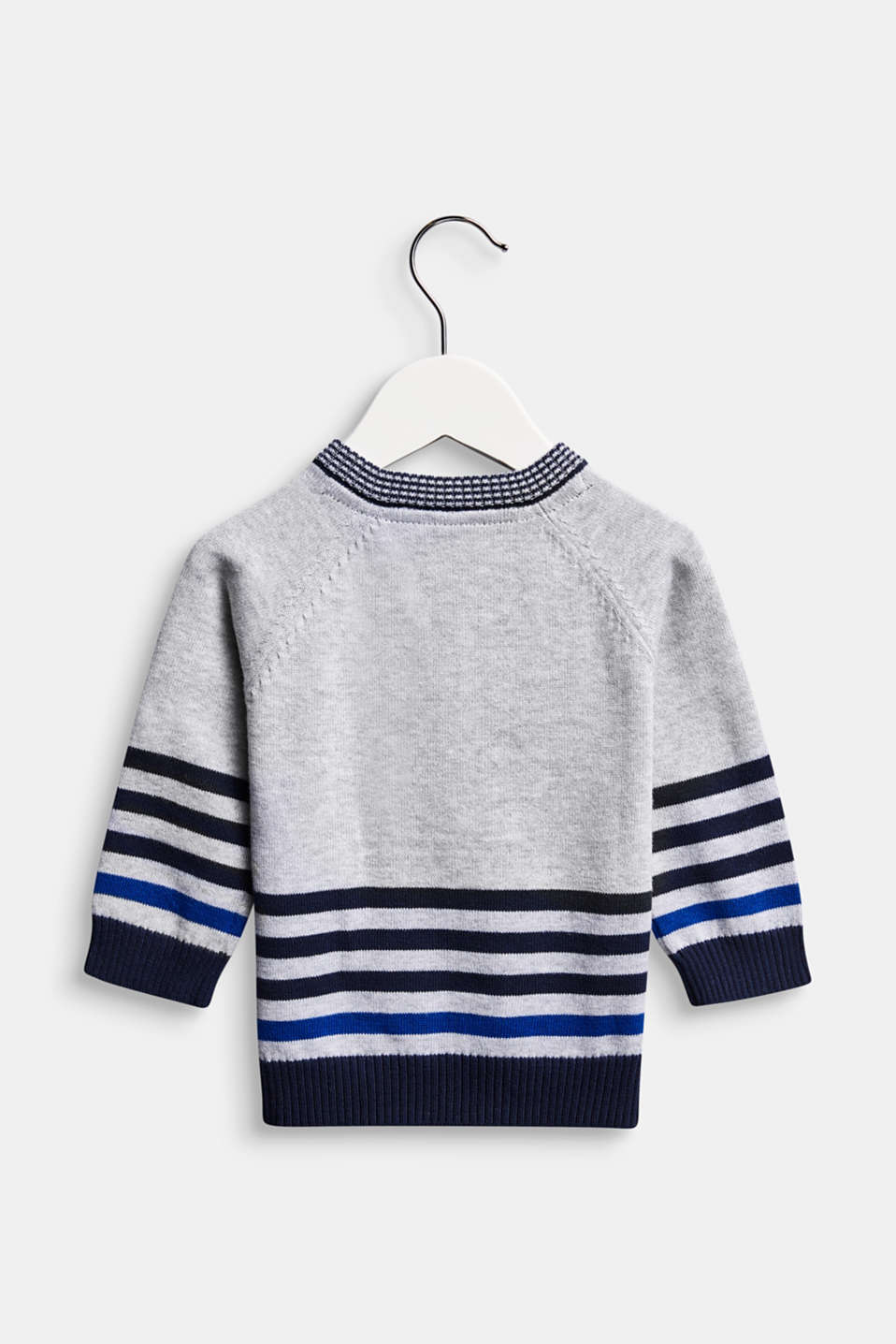 Jumper with motif and stripes, 100% cotton, LCHEATHER SILVER, detail image number 1