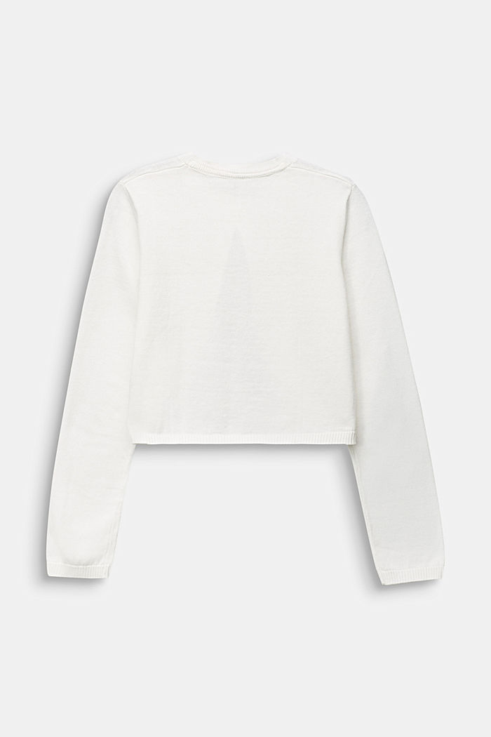 Fine-knit bolero in 100% cotton, OFF WHITE, detail image number 1