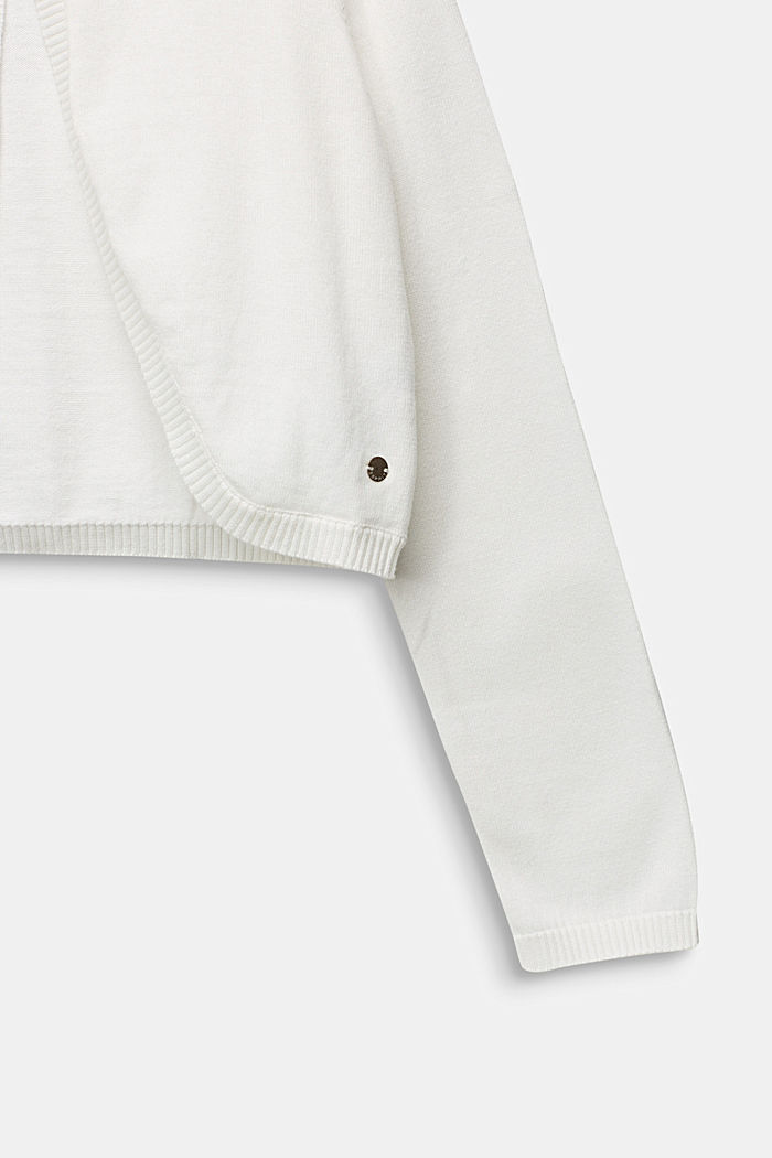 Fine-knit bolero in 100% cotton, OFF WHITE, detail image number 2