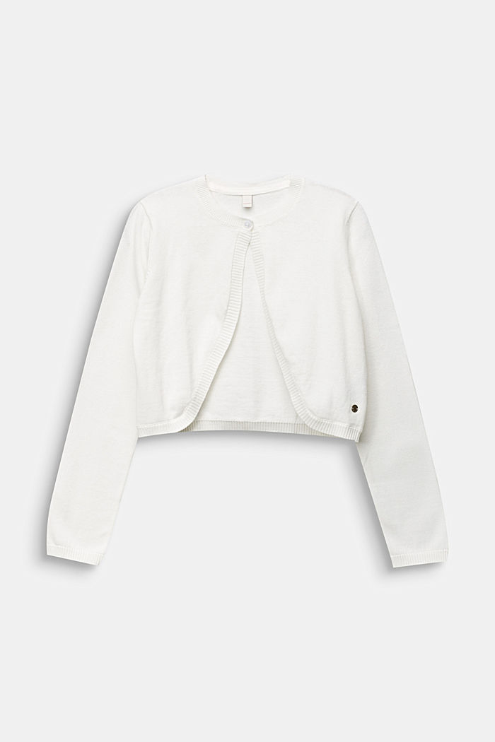 Fine-knit bolero in 100% cotton, OFF WHITE, detail image number 0