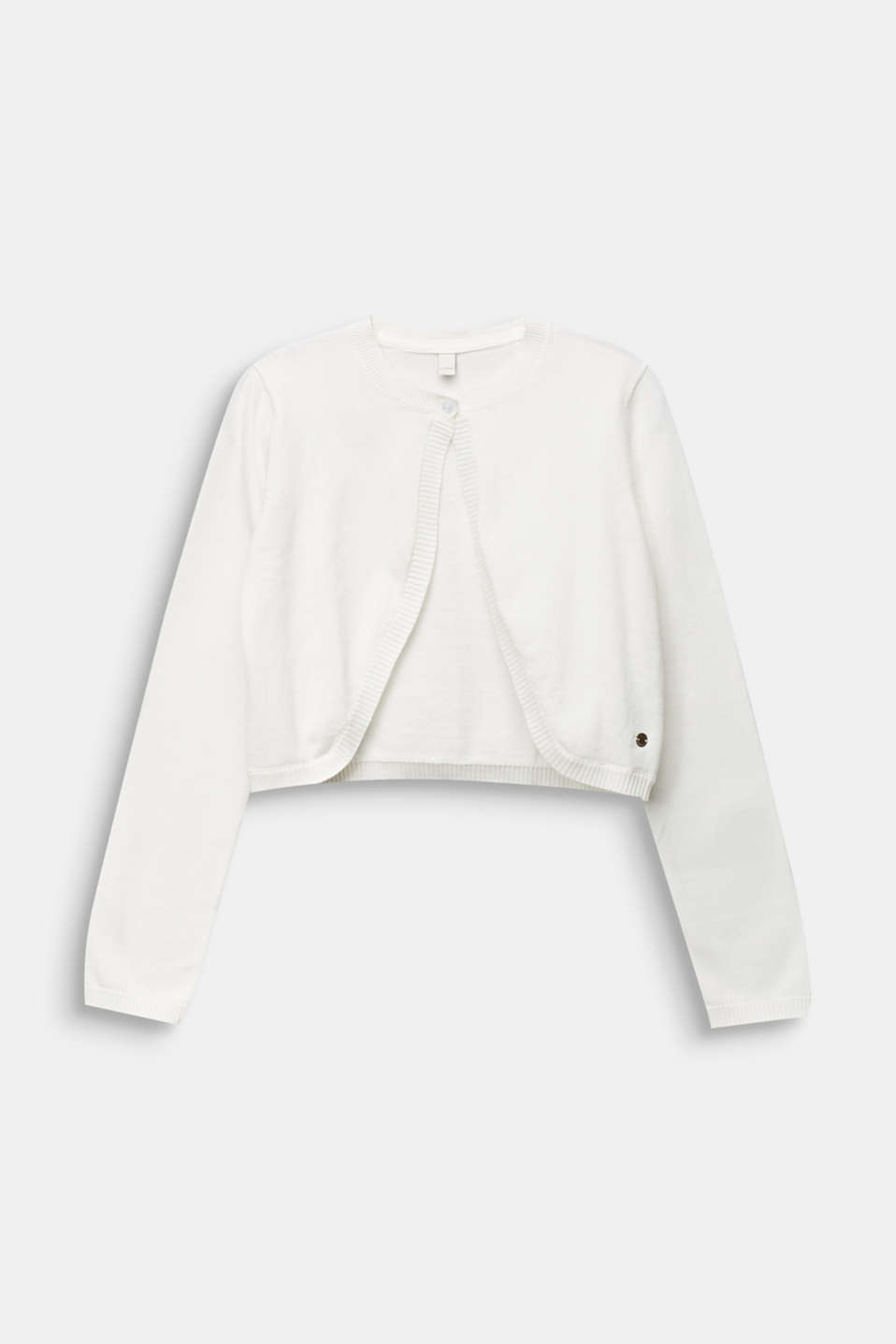 Fine-knit bolero in 100% cotton, LCOFF WHITE, detail image number 0