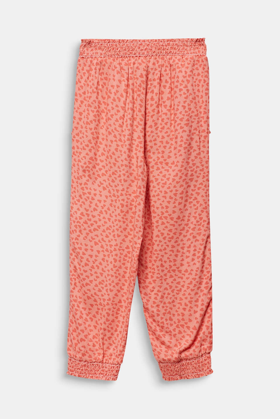 Woven trousers with multi-heart print, CORAL, detail image number 1