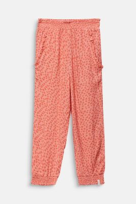 Woven trousers with multi-heart print, CORAL, detail