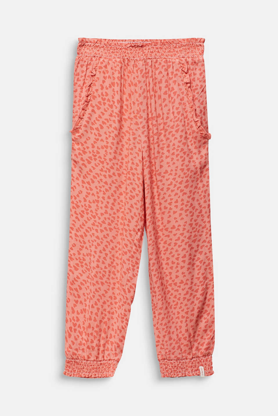 Woven trousers with multi-heart print, CORAL, detail image number 0