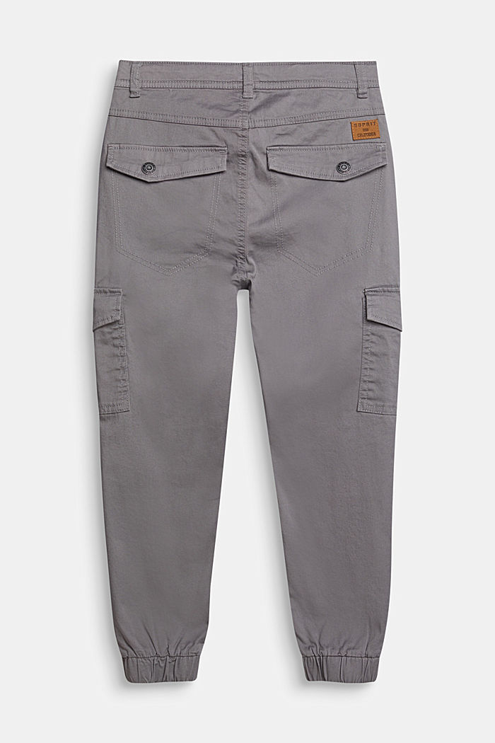 Pantalón estilo cargo realizado en algodón elástico, cintura ajustable, GREY, detail image number 1