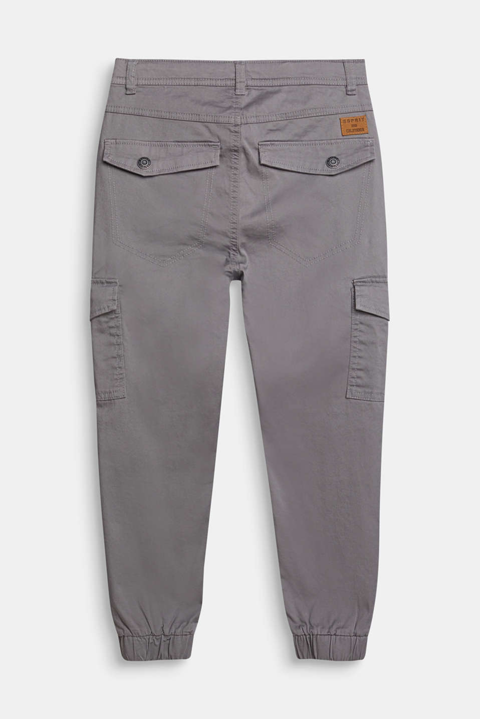 Stretch cotton cargo trousers, adjustable waistband, LCGREY, detail image number 1