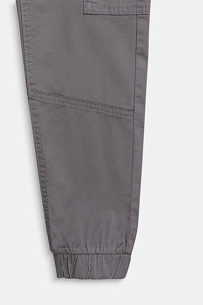 Pantalón estilo cargo realizado en algodón elástico, cintura ajustable, GREY, detail image number 2