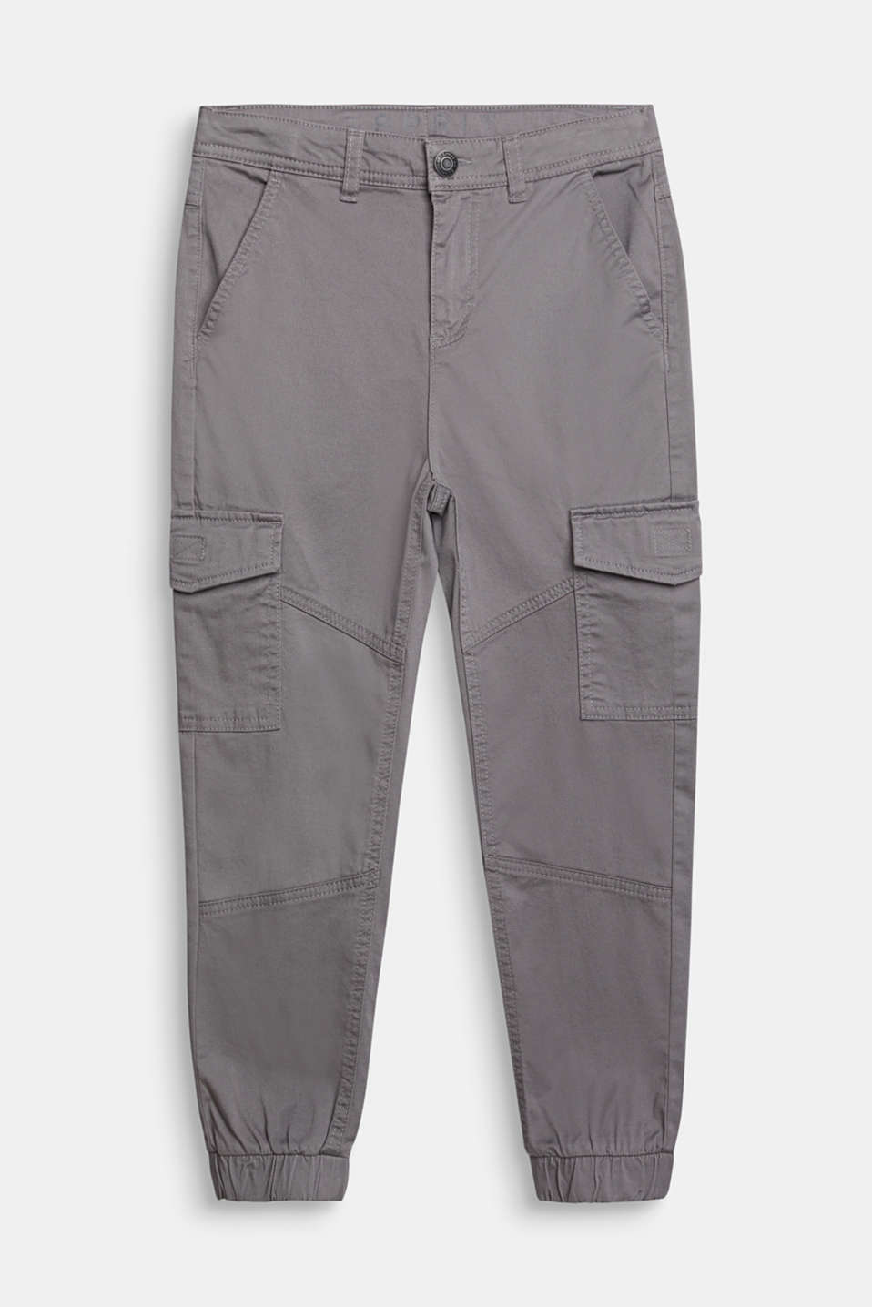 Stretch cotton cargo trousers, adjustable waistband, LCGREY, detail image number 0