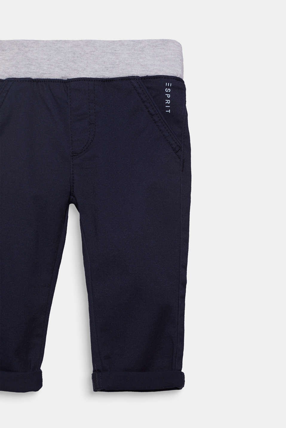 Woven trousers with an elasticated ribbed waistband, LCMIDNIGHT BLUE, detail image number 2