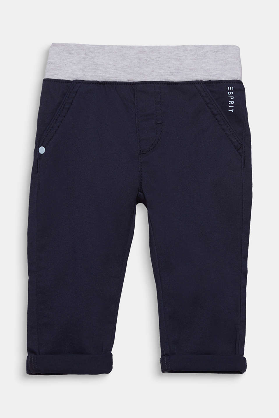 Woven trousers with an elasticated ribbed waistband, LCMIDNIGHT BLUE, detail image number 0