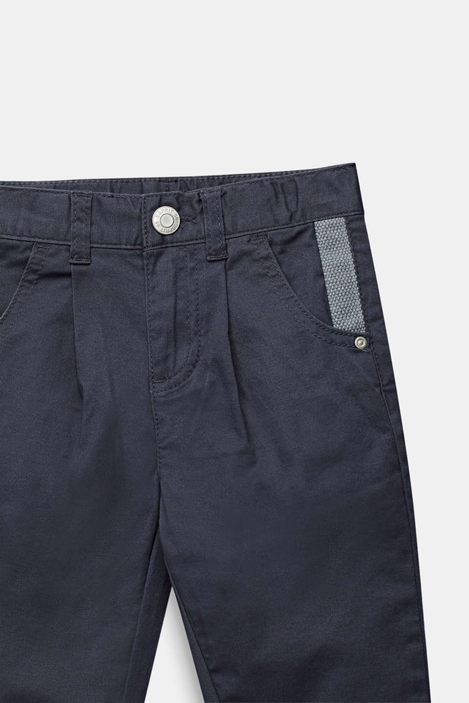 Chinos with waist pleats in stretch cotton, ANTHRACITE, detail image number 1