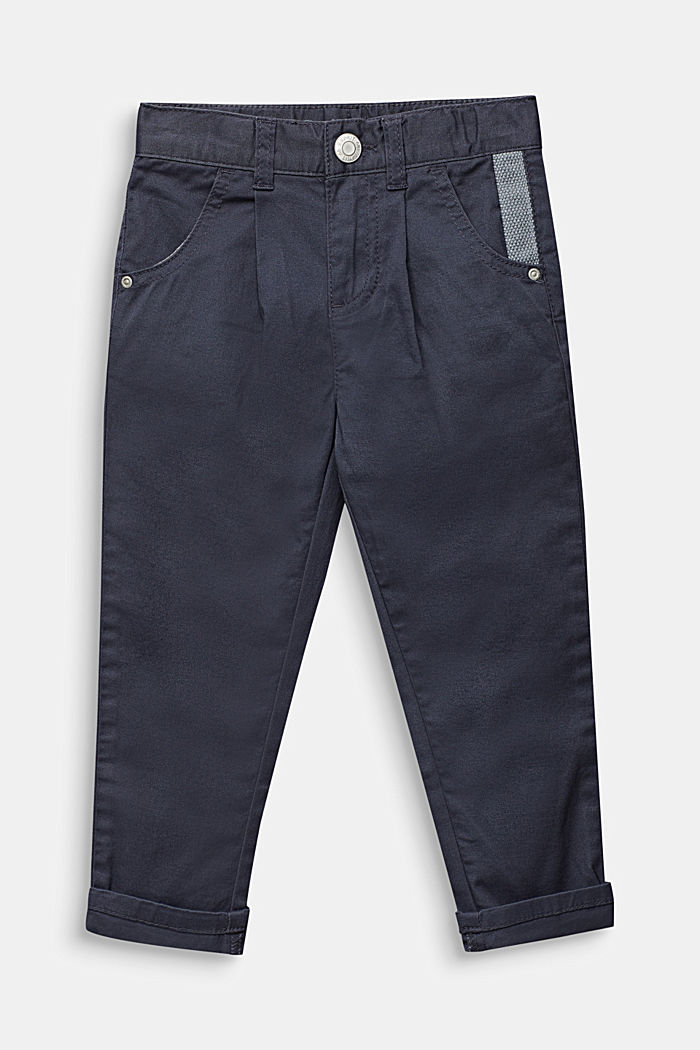 Chinos with waist pleats in stretch cotton, ANTHRACITE, detail image number 0