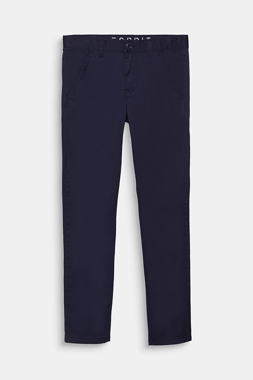 Stretch cotton trousers with an adjustable waistband