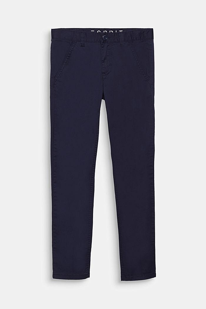Byxa i bomullsstretch med reglerbar linning, MIDNIGHT BLUE, detail image number 0