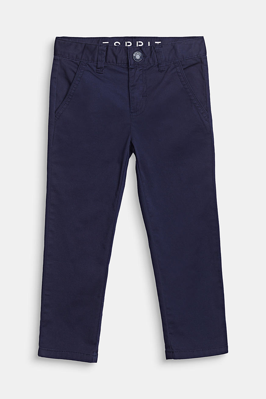 Chinos with adjustable waistband, 100% cotton